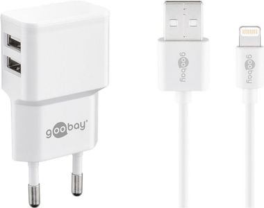 GOOBAY Dual Apple Lightning charger set 2.4 A, white, 1 m - power unit with 2 USB ports and Apple Lightning cable (44979)