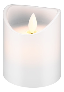 GOOBAY LED white real wax candle, 7.5 x 10Â cm - beautiful and safe lighting solution for many areas including homes and loggias, offices, schools or old peopleâ??s homes (66519)
