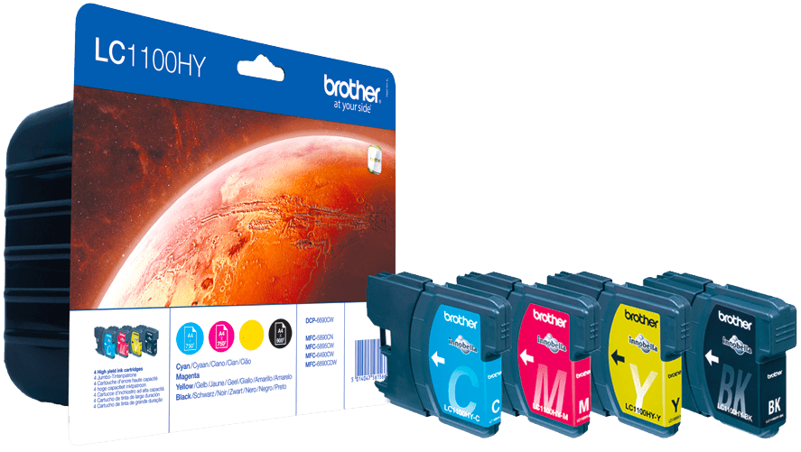 BROTHER Blekk LC-1100HY Value Pack (4) (LC1100HYVALBPDR)