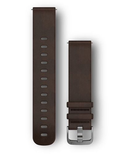 GARMIN Quick Release 20 Leather Silver - Kellon ranneke - Ruskea (010-12691-01)