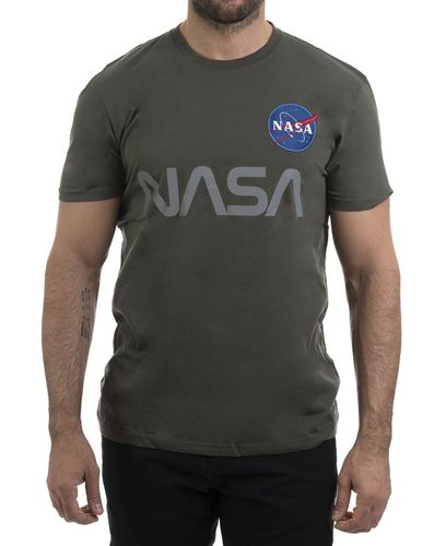 Alpha Industries NASA Reflective T - T-paita - Dark Olive (193178501-142-L)