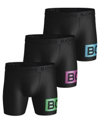 Björn Borg BB Radiate Per Shorts 3pk - bokserit - Black Green (2011-2050-91711)