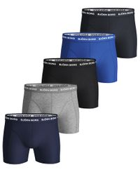 Björn Borg Solid Sammy Shorts 5pk - bokserit - Blue Depths