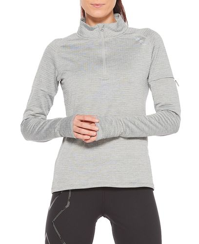 2XU Pursuit Thermal 1/4 Zip Womens - Paita - Grey Marle/ Silver Reflective (WR6233a-GR)