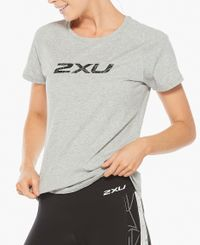 2XU Contender Womens - T-paita - Grey Marle/Geo Lines (WR6296a-GR)
