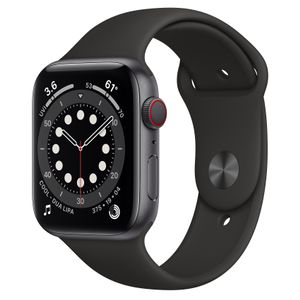 APPLE Watch Series 6 GPS + Cellular, 44mm Space Grey Aluminium Case with Black Sport Band - Regular (MG2E3KS/A)