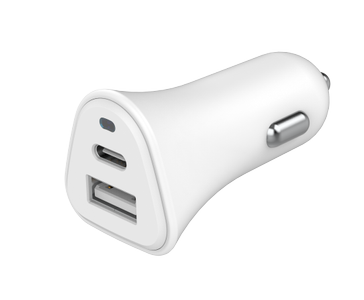 BIGBEN Just Green Car Charger with USB-A and USB-C ports (5.4A) White / JGCAC2USBAC5.4AW (JGCAC2USBAC5.4AW)