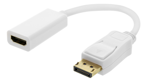 DELTACO DisplayPort till HDMI adapter, 4K 60Hz, 0,2m, Vit (DP-HDMI44)