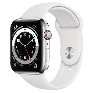 APPLE Watch Series 6 44mm 4G silver/ vit Silver Stainless Steel Case med White Sport Band - Regular (M09D3DH/A)