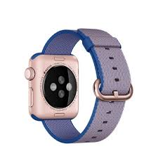 APPLE Apple Watch Sport 42mm Rose Gold Aluminium Case with Royal Blue Woven Nylon (MMFP2KS/A)