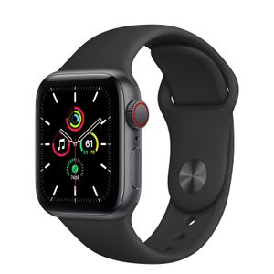 APPLE Watch Series SE 40mm 4G grå/sort Space Gray Aluminium Case med Black Sport Band - Regular (MYEK2DH/A)