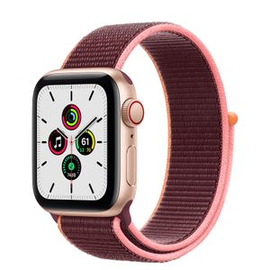 APPLE Watch Series SE 40mm 4G gull/ plomme Gold Aluminium Case med Plum Sport Loop (MYEJ2DH/A)