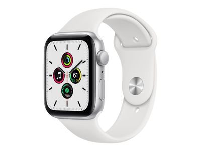 APPLE Watch Series SE 44mm sølv/hvit Silver Aluminium Case med White Sport Band - Regular (MYDQ2DH/A)
