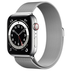 APPLE Watch Series 6 44mm 4G sølv/sølv Silver Stainless Steel Case with Silver Milanese Loop (M09E3DH/A)