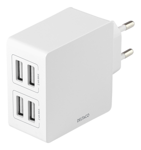 DELTACO USB wall charger, 4x USB-A, 2,4 A, total 24 W, white (USB-AC176)