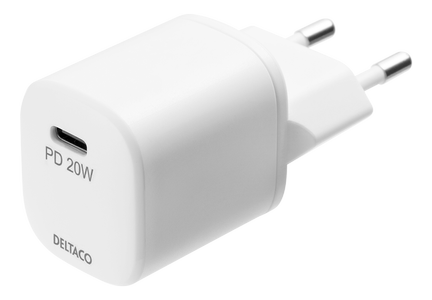 DELTACO USB wall charger, 1x USB-C, 20 W, PD, white (USBC-AC142)