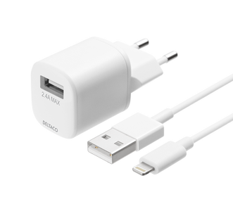 DELTACO USB wall charger kit, USB-A, 2,4 A, 1 m USB-A to Lightning (USB-AC181)