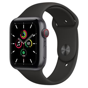 APPLE Watch Series SE 44mm 4G grå/sort Space Gray Aluminium Case med Black Sport Band - Regular (MYF02DH/A)