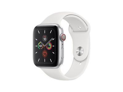 APPLE WATCH S5 GPS+CELL 44MM SILVER ALUCASE WHITE SPORT       IN CONS (MWWC2KS/A-OM)