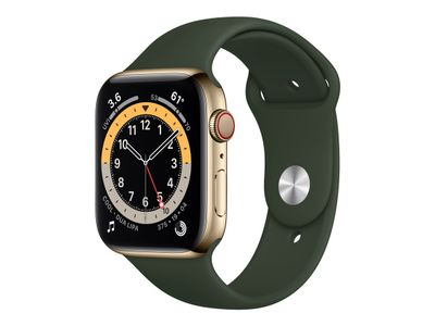 APPLE WATCH S6 GPS+CELL 44MM GLD STSTEEL CASE W CYP GREEN S/P IN ACCS (M09F3KS/A)