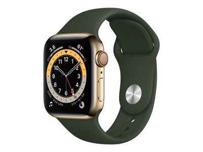 APPLE WATCH S6 GPS+CELL 40MM GLD STSTEEL CASE W CYP GREEN S/P IN ACCS (M06V3KS/A)