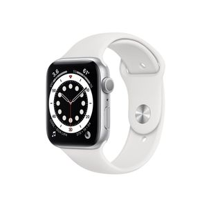 APPLE Watch Series 6 44mm sølv/hvit Watch Series 6 GPS, 44mm Silver Aluminium Case med White Sport Band - Regular (M00D3DH/A)