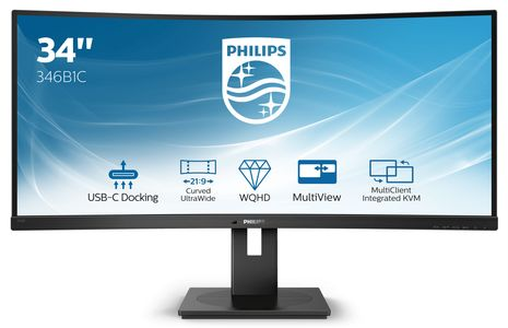 PHILIPS 346B1C 34inch USB-C DOCKING DISPLAY 3440x1440 Curved VA 21:9 5ms GtG HAS USB-C/ DP/ HDMI RJ45 USB HUB Speakers VESA (346B1C/00)