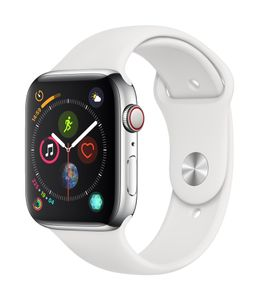 APPLE EOL AW Series4 GPS Cell 44mm Stainless Steel White Sport Ba (MTX02DH/A)
