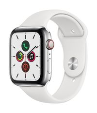 APPLE EOL AW Series 5 GPS Cell 44mm St Steel Case White Sport Band