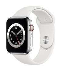 APPLE AW Series 6 GPS Cell 44mm Silver St Steel Case Wh Sport Band