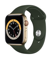 APPLE AW Series 6 GPS Cell 44mm Gold St Steel Case Cyp Green Sport