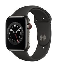 APPLE AW Series 6 GPS Cell 44mm Gr St Steel Case Black Sport Band