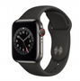 APPLE AW Series 6 GPS Cell 40mm Graphite St Steel Case Black Sport