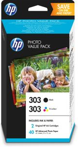 HP 303 PVP with ink cartridges black, tri-color + 40 sheets Advanced Photo Paper 10x15 cm (Z4B62EE)