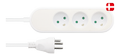 Nordic Quality Danish power outlet with 3 earthed sockets, PVC cable (