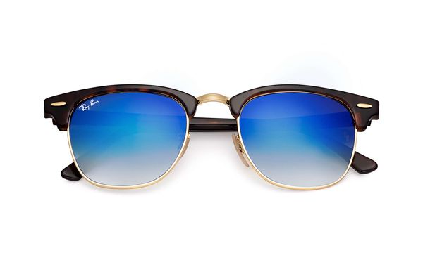 RAY-BAN Clubmaster Shiny Red/ Havana - Solglasögon - Blue Flash (RB3016-990/7Q-49)
