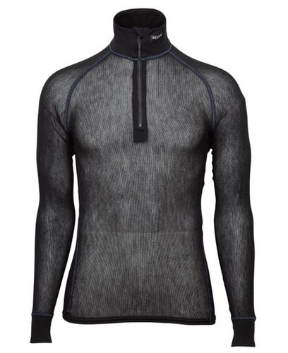 Brynje Wool Thermo Light Zip-polo 3/4 - Tröjor - Svart (10141230BL)