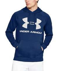 Under Armour Rival Fleece Logo - Huvtröjor - Blå (1345628-449)