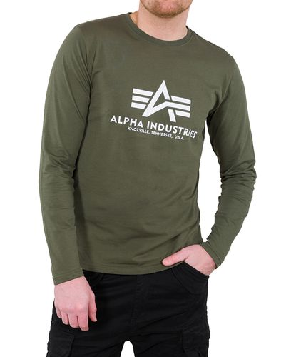 Alpha Industries Basic T LS - Tröjor - Dark Olive (100510-142)