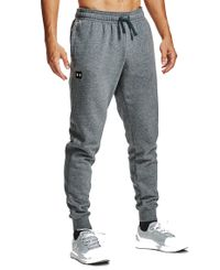Under Armour Rival Fleece Joggers - Byxor - Pitch Gray/Onyx White (1357128-012)