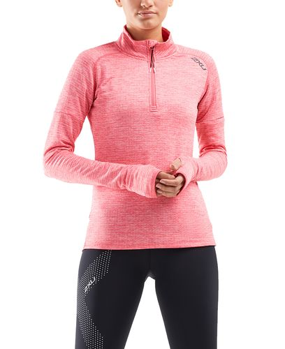 2XU Pursuit Thermal 1/4 Zip Womens - Tröjor - Pink Lift/ Silver Reflective (WR6233a-PI)