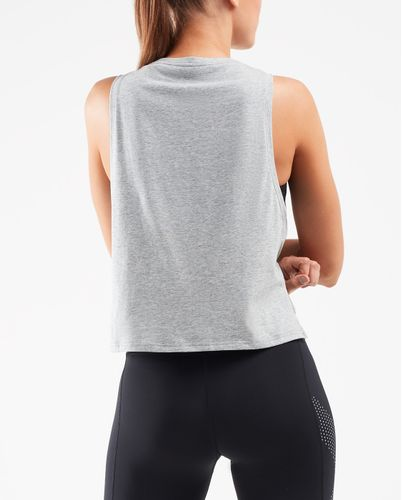 2XU Contender Crop Womens - Tank - Grey Marle/Geo Lines (WR6259a)