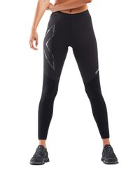 2XU Wind Defence Comp Womens - Tights - Black/ Striped Silver Reflective (WA6312b)