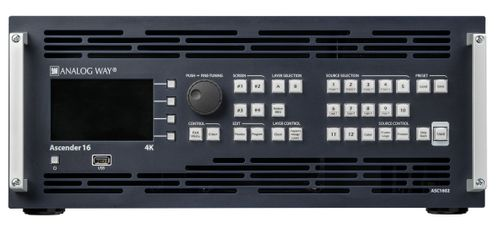 Analog Way - Premium 4K Mult-Layer Seamless Switcher with 16 Scalers, 12 inputs, 4 outputs + Preview/ Mosaic output, Ascender 16 - 4K (ASC1602-4K)