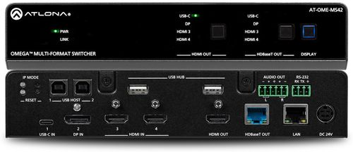 Atlona Omega 4x2 4K/UHD multiformat matrix switcher, with HDMI, USB-C, Display port, and USB pass through over HDBaseT (AT-OME-MS42)