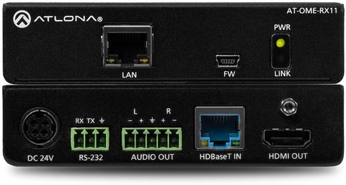 Atlona Omega 4K/UHD HDMI over HDBaseT Receiver with Control. Audio Output, and PoE (Power Source Equipment). (AT-OME-RX11)