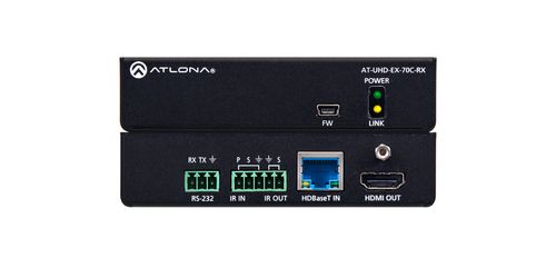 Atlona 4K/UHD HDMI Over HDBaseT Receiver with Control and PoE (AT-UHD-EX-70C-RX)