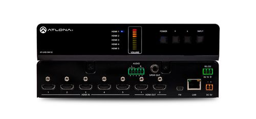Atlona 4K/UHD, 5-Input HDMI Switcher with Mirrored HDMI Outputs (AT-UHD-SW-52)
