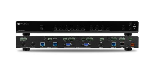 Atlona 4K/UHD scaler, 6 input. 2 HDMI, 2 HDBaseT, 2 VGA input, 2 output switcher with scaler, PoE, and ethernet. (AT-UHD-CLSO-612ED)