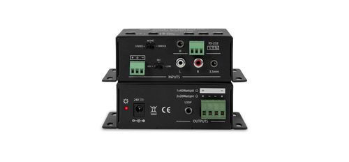 Atlona Stereo/ Mono Audio Amplifier with 3 Inputs (2 x Stereo, 1 x MIC - standard eller phantom power) (AT-PA100-G2)